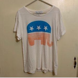 Wildfox Patriotic Elephant Republican Graphic Tee